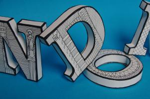 mel rye illustration london sculpture 3d typography